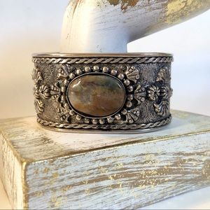 Jewelry - Boho Agate Wide Silver Tone Cuff